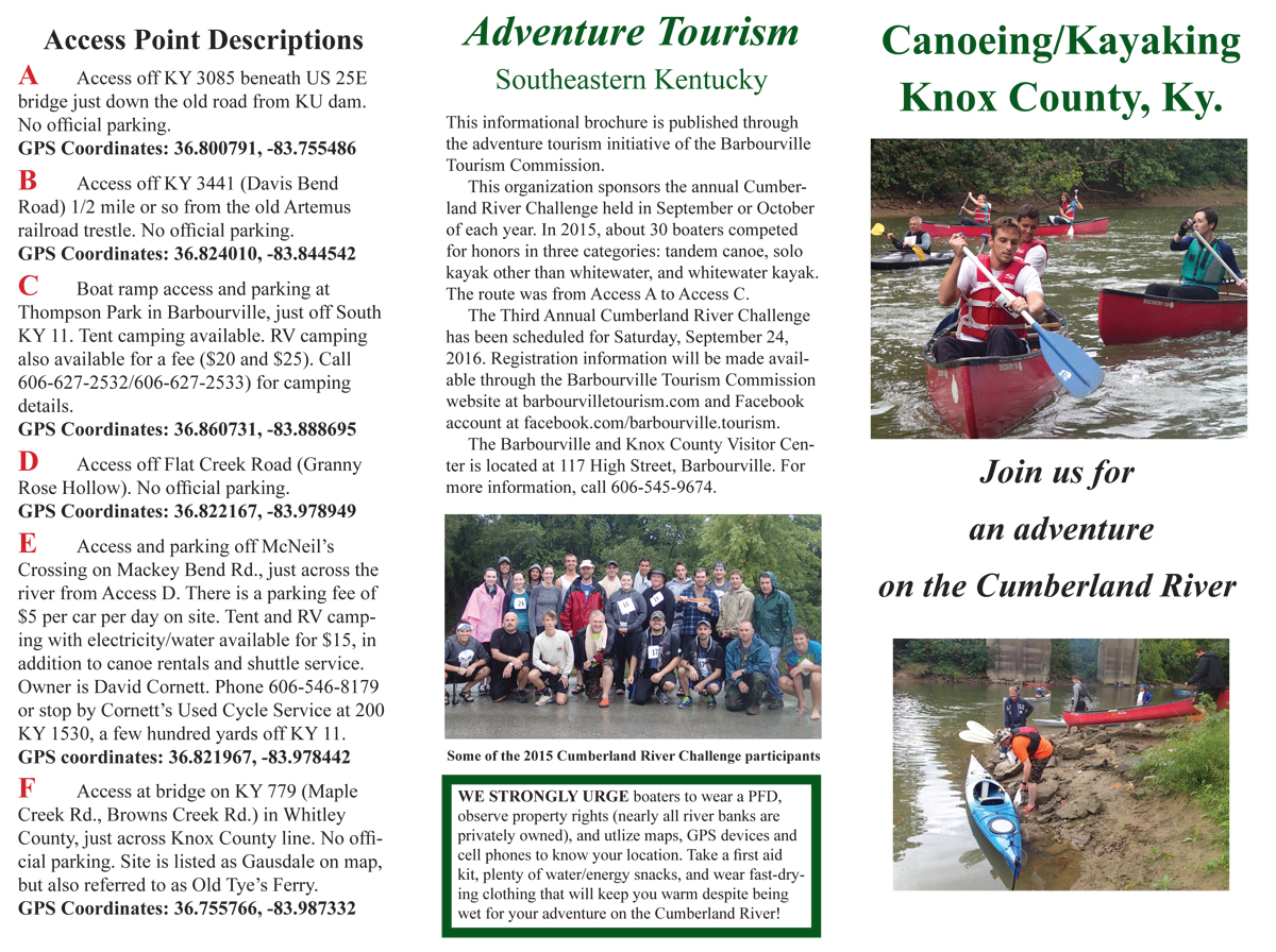 New Brochure On Paddling The Cumberland River In Knox County Ky - Us counties coordinates