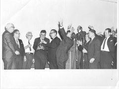 A service held at Scalf Chapel Pentecostal Church involved church leaders including John Frank Marcum, Beckham Garland, James Mooneyham, Elroy Gilpen, Chester Trent, Buford Smith, and David Shelton.