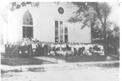 First Baptist Church of Barbourville is shown ca.1893 when it was located at the corner of Pine and North Main Streets.
