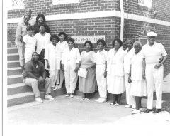 Church leaders, shown in August 1991, included Michael Williams, seated; first row, Margaret Pursiful, Regina Bledsoe, Elizabeth Harris, Mayme Wallace, Mary Pursiful, Sharon Blalock, Margarita Smith, Louverda Boose, Maurice Feimster; and others.