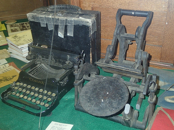 Organizations Room - early typewriter and printing press artifacts